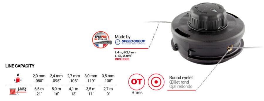 Damilfej Tap&Go könnyű damilbefűzéssel 109 mm, M10x125, M8x1,25